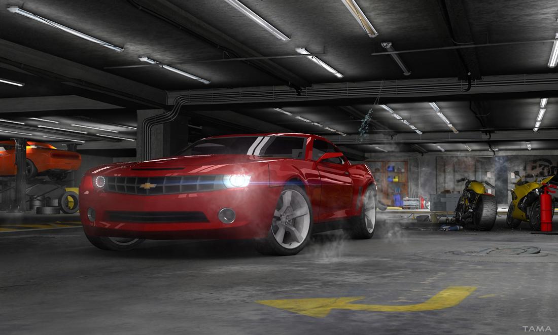 affiche en illustration 3D pour le Chevrolet Camaro