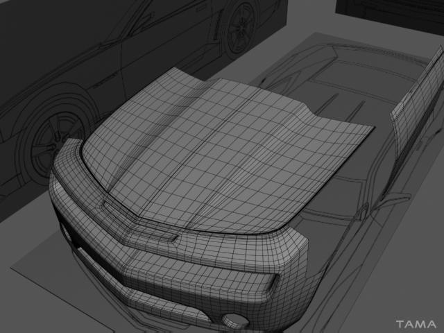 modélisation 3d du capot d'une voiture