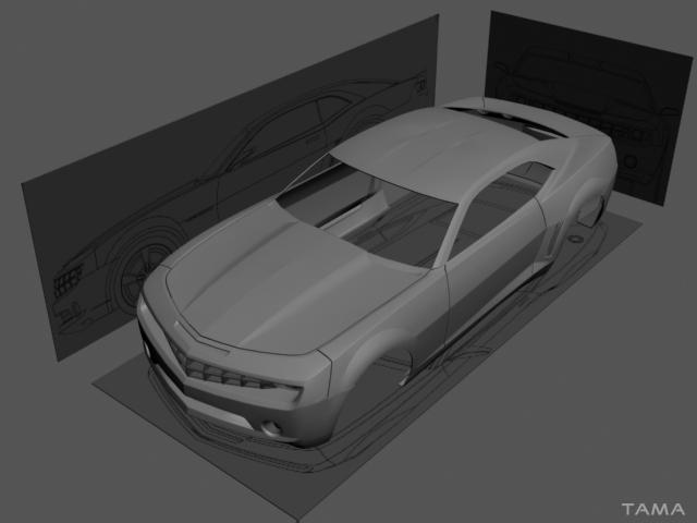 wireframe du modélisation 3D pour le Chevrolet Camaro