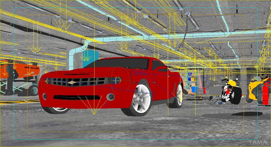 la scène en cours de production pour le Chevrolet Camaro