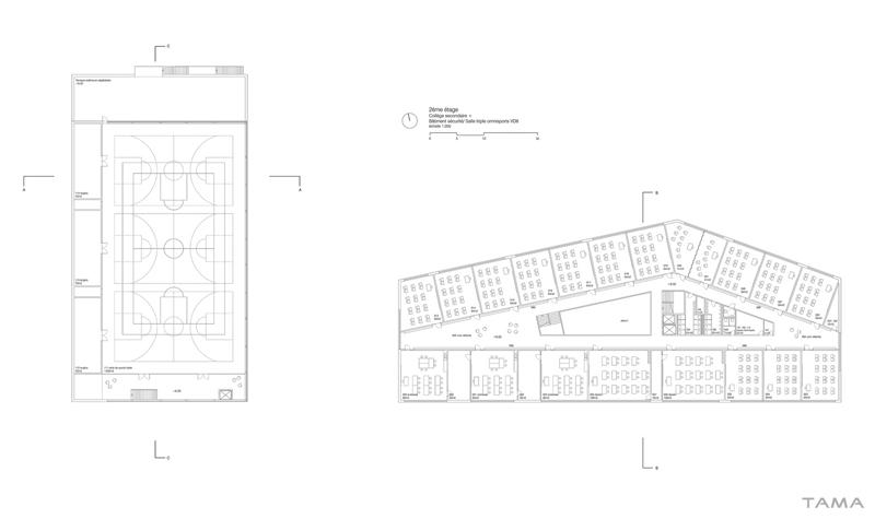 plan du 2ème étage Collège Secondaire Rives Caserne de Pompiers Yverdon