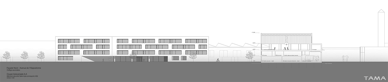 façade Nord Collège Secondaire Rives Caserne de Pompiers Yverdon