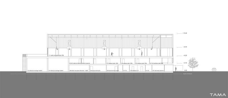 coupe bâtiment sécurité salle omnisports Collège Secondaire Rives Caserne de Pompiers Yverdon