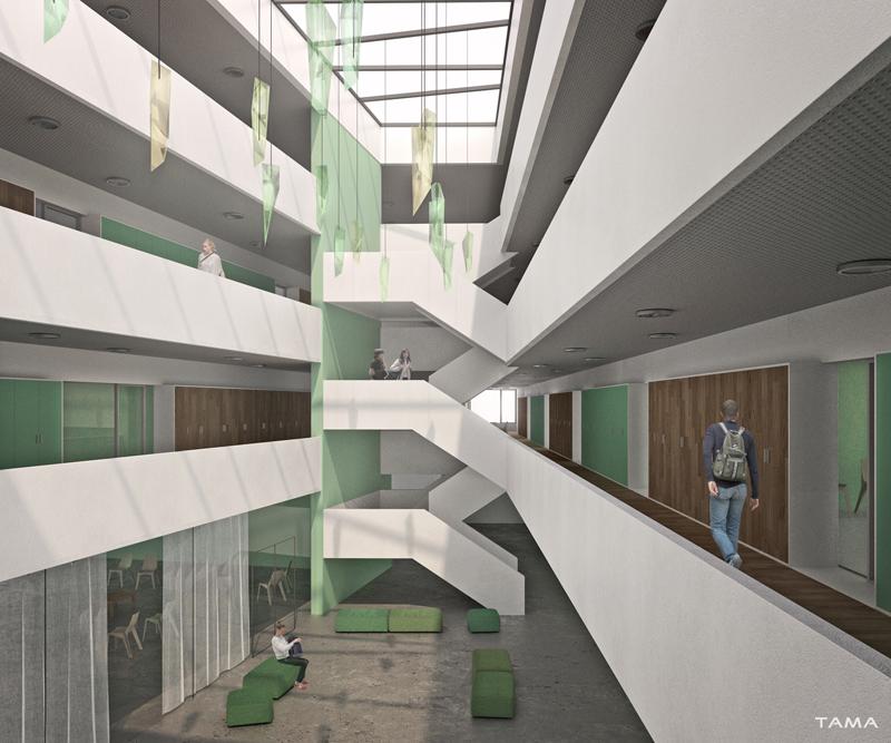 vue de l'atrium Collège Secondaire Rives Caserne de Pompiers Yverdon