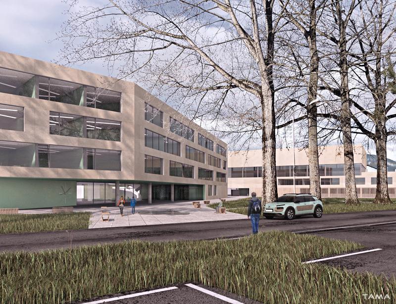 entrée du Collège Secondaire Rives Caserne de Pompiers Yverdon