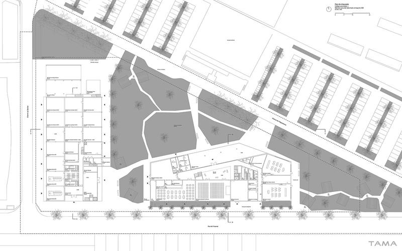 plan du rez-de-chaussée Collège Secondaire Rives Caserne de Pompiers Yverdon