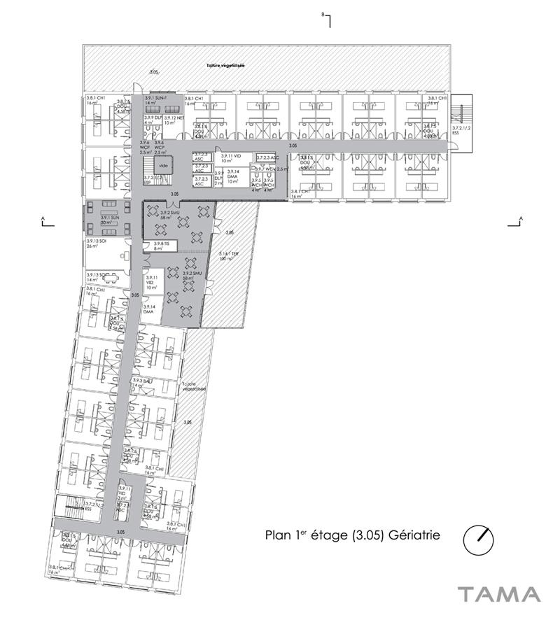 plan du 1er étage EMS des 4 Marronniers