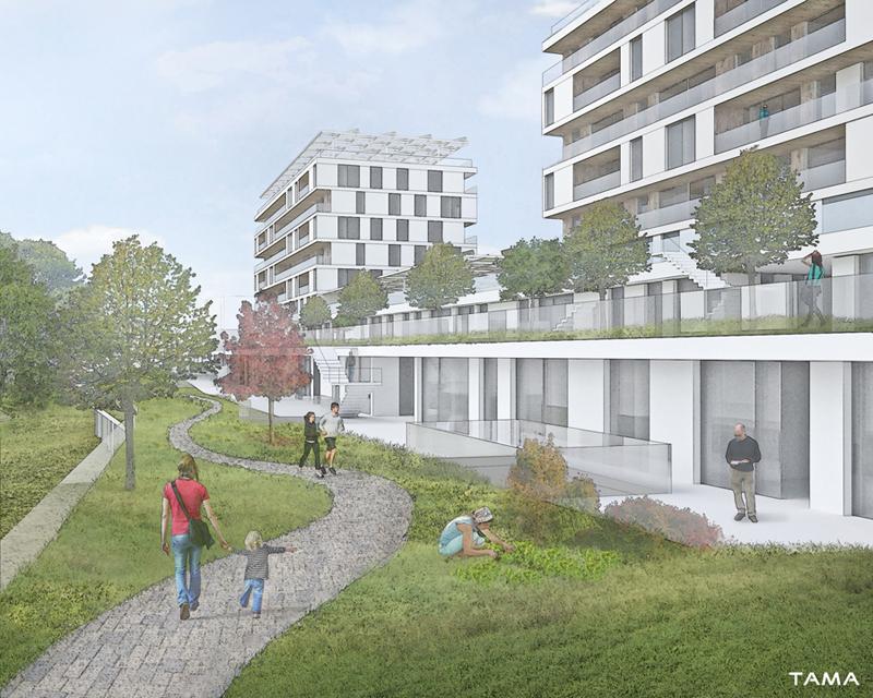 vue des terrasses Eco-quartier du Stand Nyon