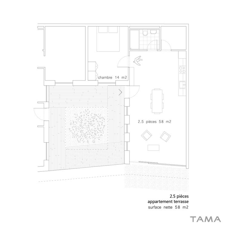 typologie 2.5 pieces Eco-quartier du Stand Nyon