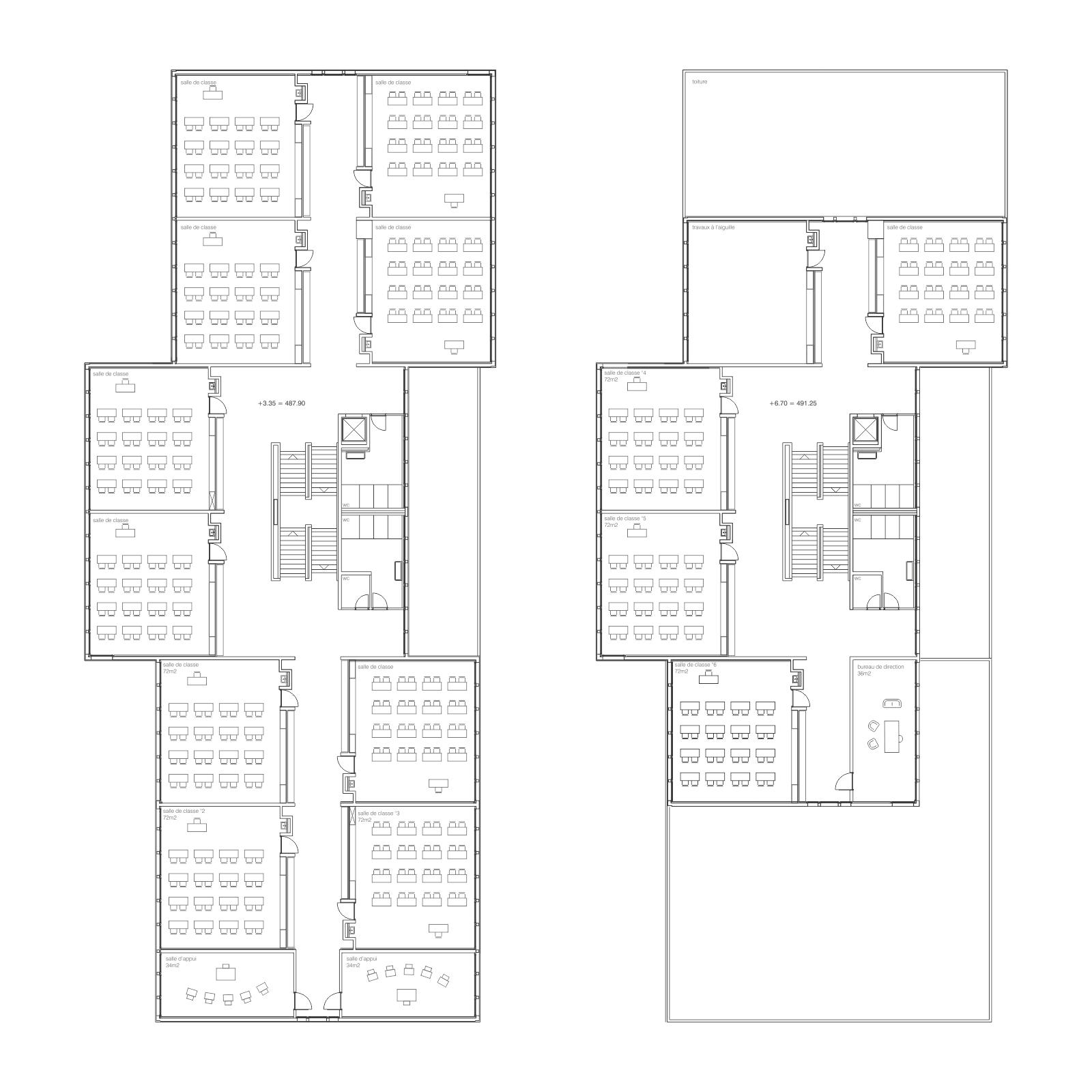 plan du 1er et 2ème étage Ecole Ardon