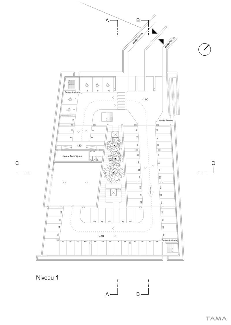 plan du 1er étage Parking de Morat