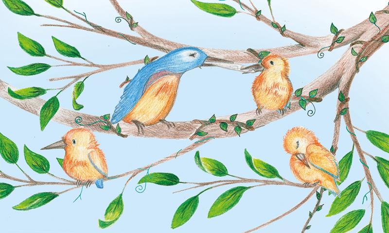 detail illustration traditionelle pour le livre Sunny Kingfisher