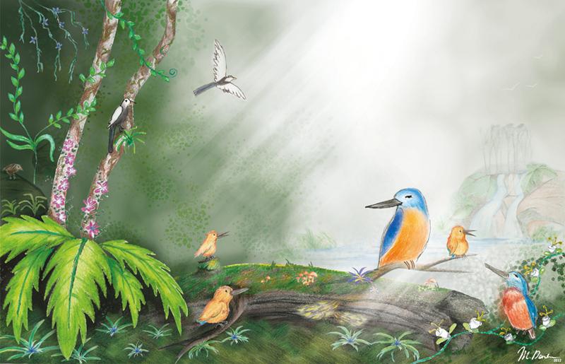 la famille illustration traditionelle pour le livre Sunny Kingfisher