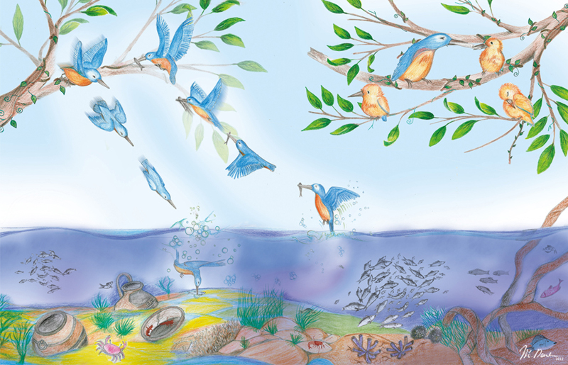 la peche illustration traditionelle pour le livre Sunny Kingfisher