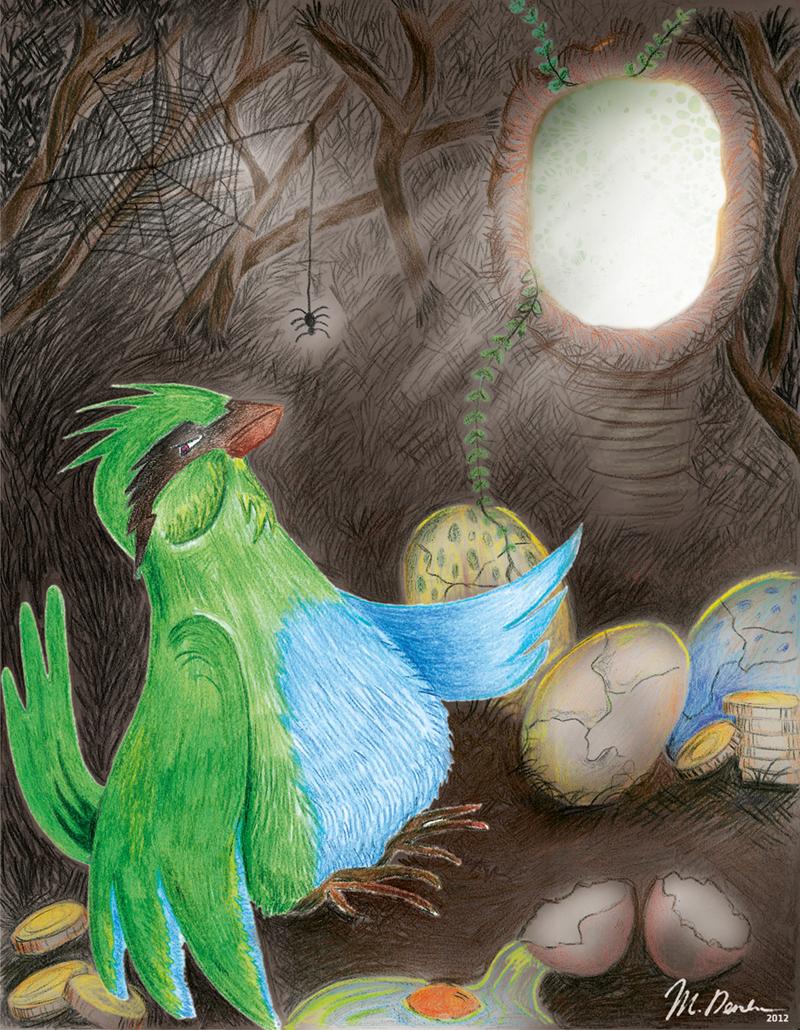l'oiseau mechant illustration traditionelle pour le livre Sunny Kingfisher