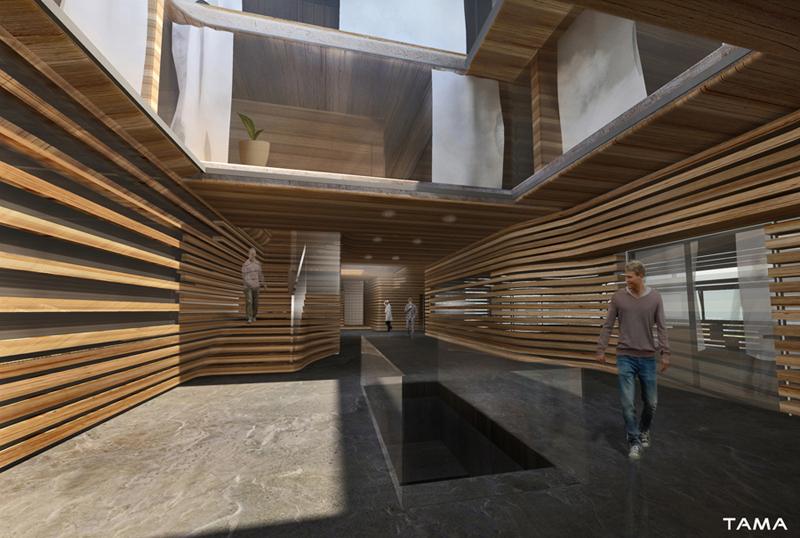 galerie intérieure avec courettes, bureaux et logements à l'étage Usine à Gaz