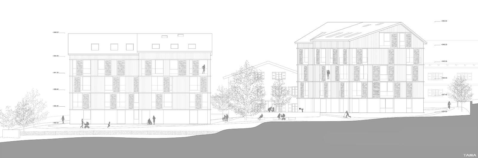 élévation Sud logements Les Monnaires Château-d'Oex