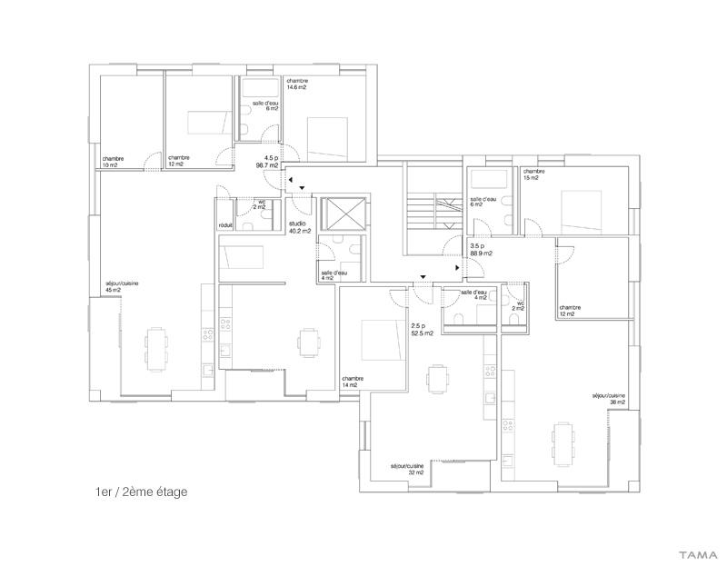 plan 1er / 2ème étage logements Les Monnaires Château-d'Oex