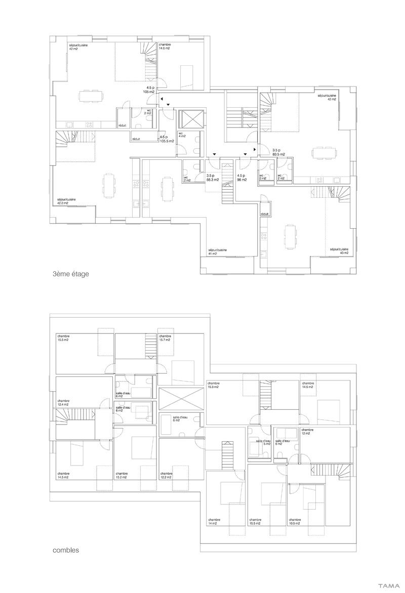 plan du 3ème étage et combles logements Les Monnaires Château-d'Oex