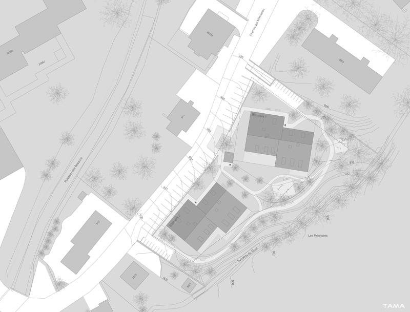 plan de situation logements Les Monnaires Château-d'Oex