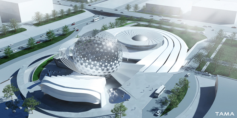 aerial view New Belgrade Planetarium and Science Center