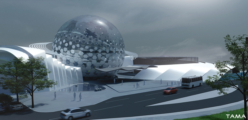 the entrance of the New Belgrade Planetarium and Science Center
