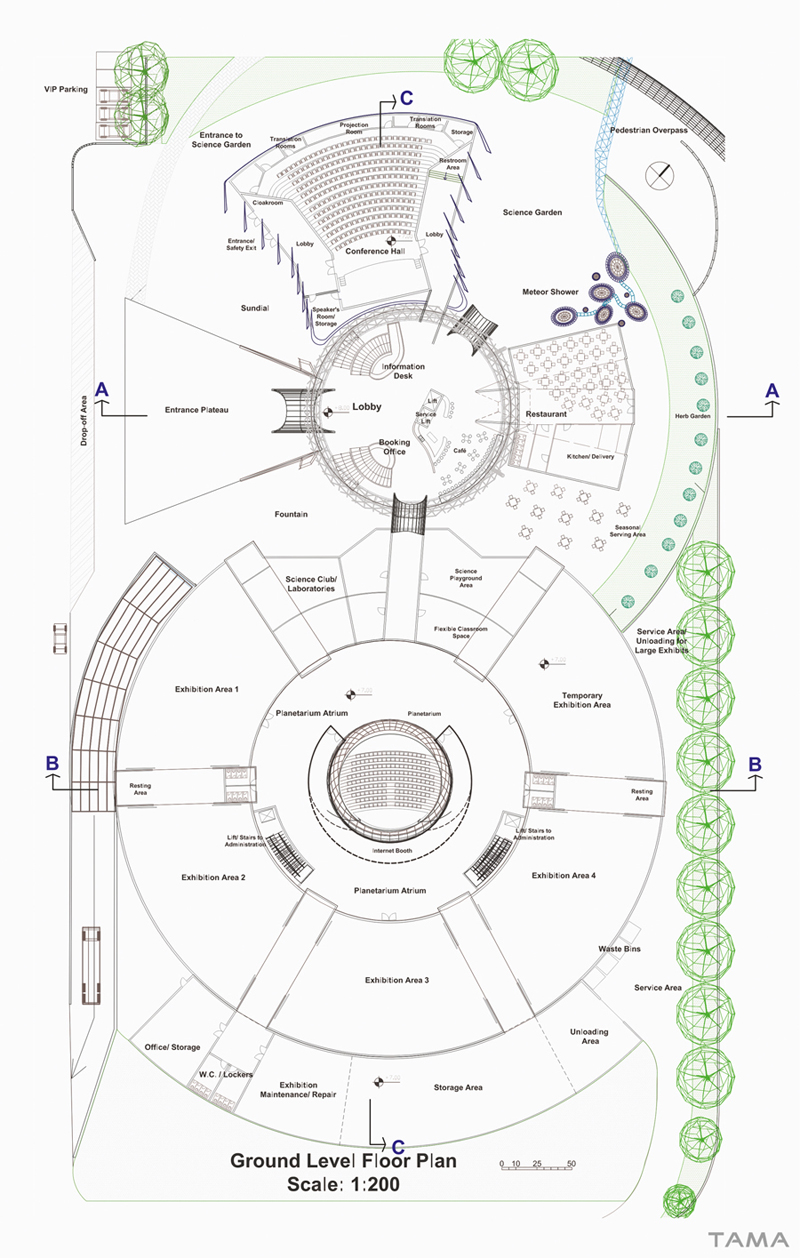 ground level floor plan New Belgrade Planetarium and Science Center