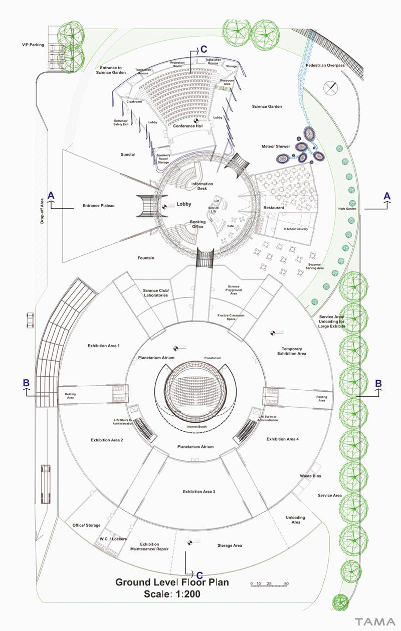 ground level floor plan New Belgrade Planetarium and Science Center