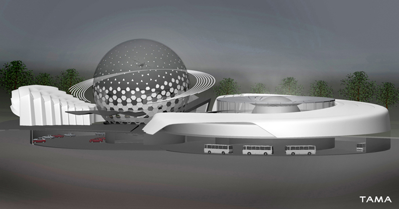 the underground garage of the New Belgrade Planetarium and Science Center