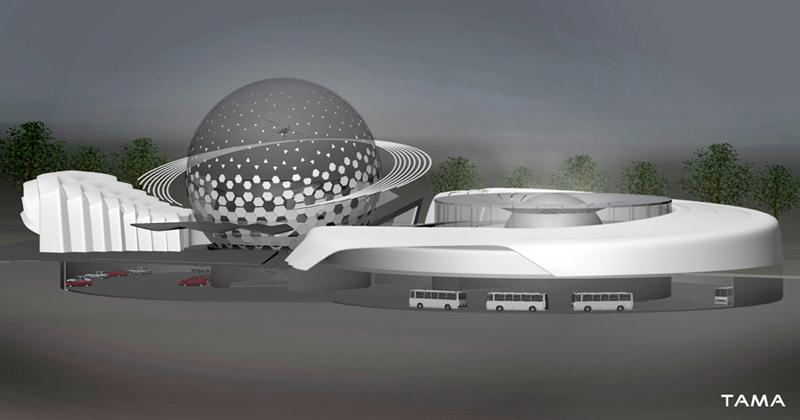 the underground garage of the New Belgrade Planetarium and Science Center
