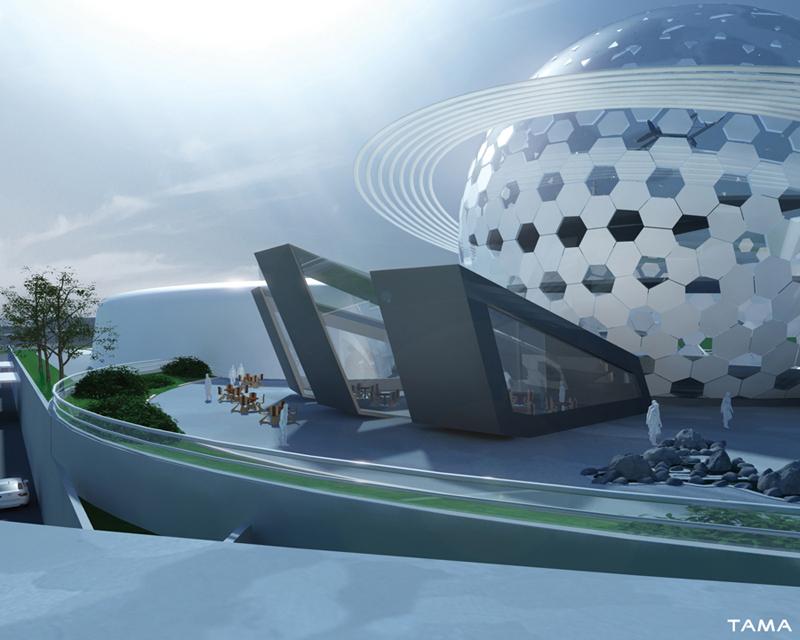 the restaurant of the New Belgrade Planetarium and Science Center