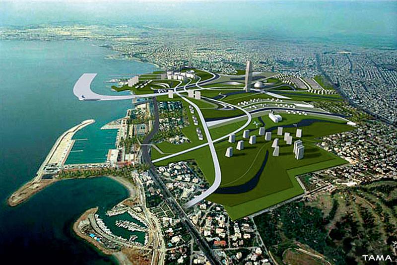 aerial view old Ellinikon International Airport Masterplan